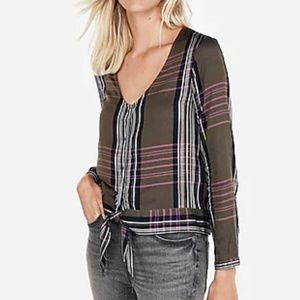 Express Plaid Front Tie Top XS